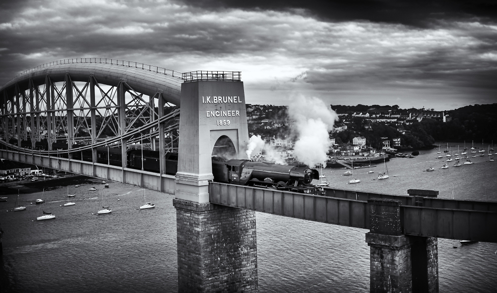 The Flying Scotsman over Brunel bridge