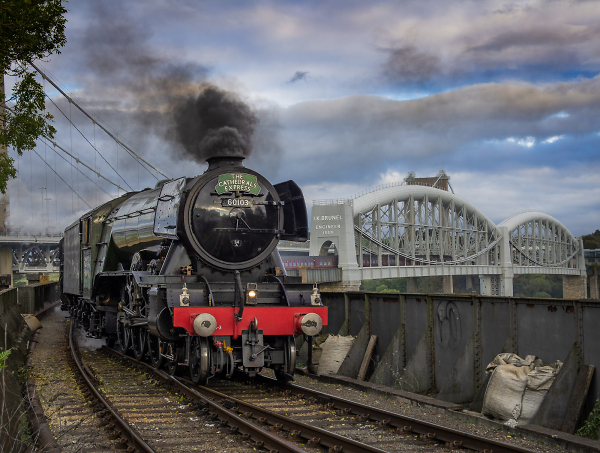 The Flying Scotsman approaches Saltash Station