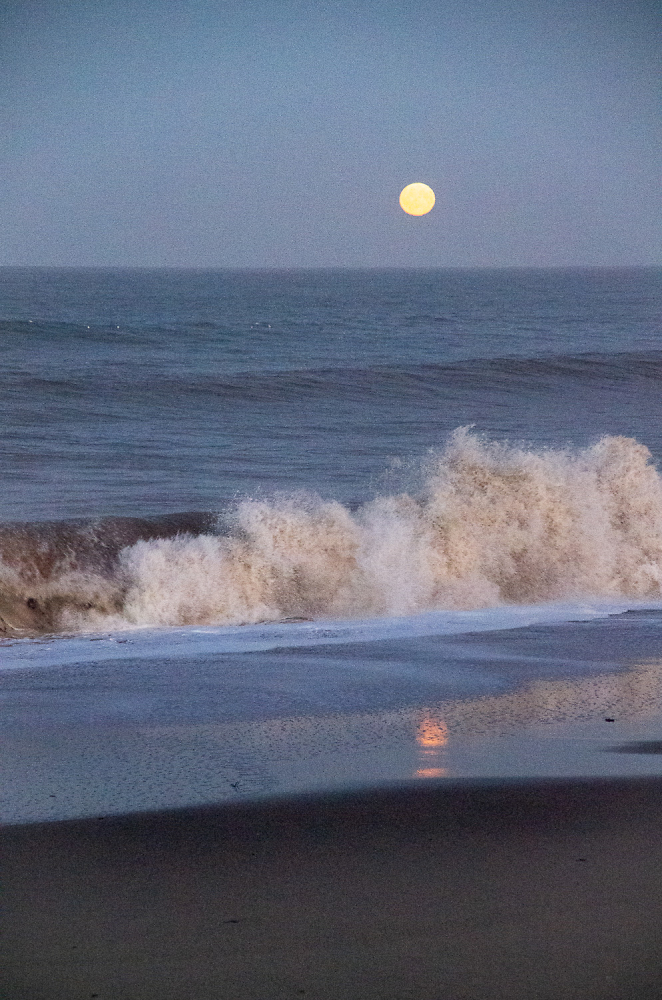 Moon rise over the North Sea.