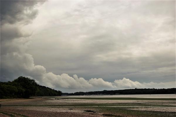 Passing rain clouds.