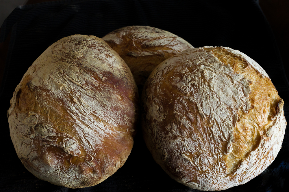Three Boules Standing on Their Edges
