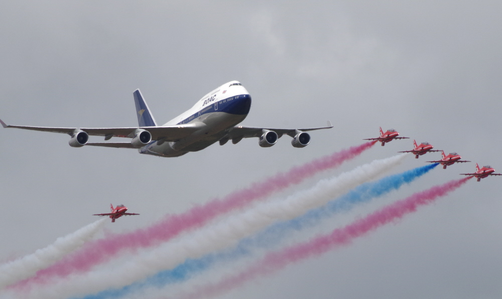 BOAC B747 plus Red Arrows