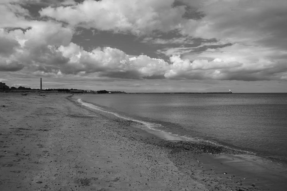 Northumberland Coast in b&w
