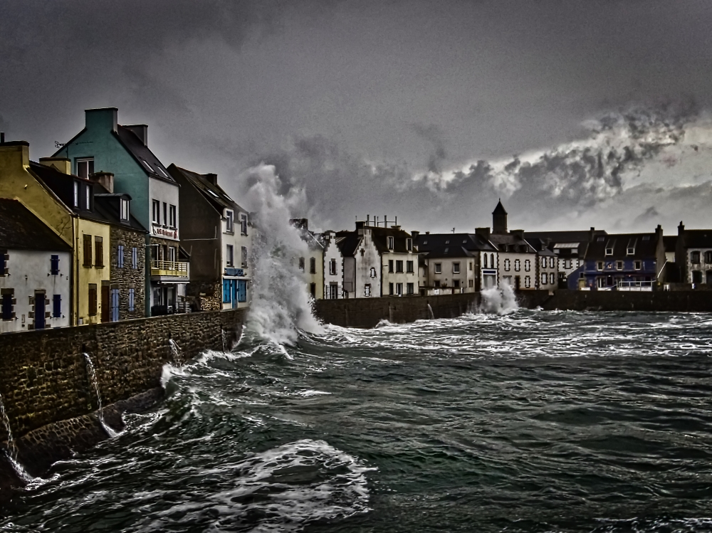 High sea in Brittany, France