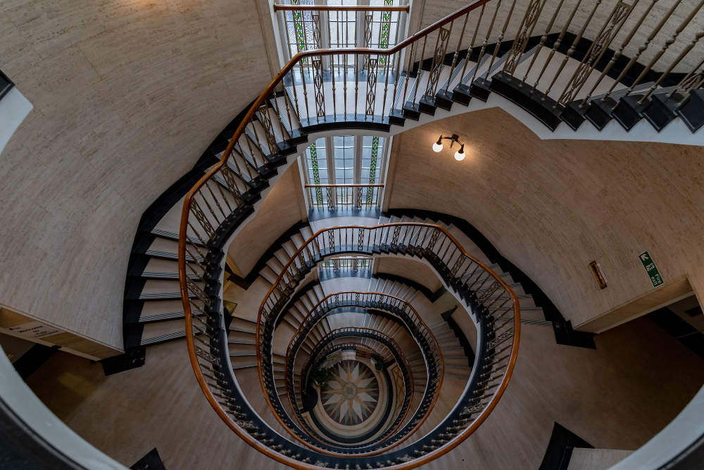 Spiral staircase looking down