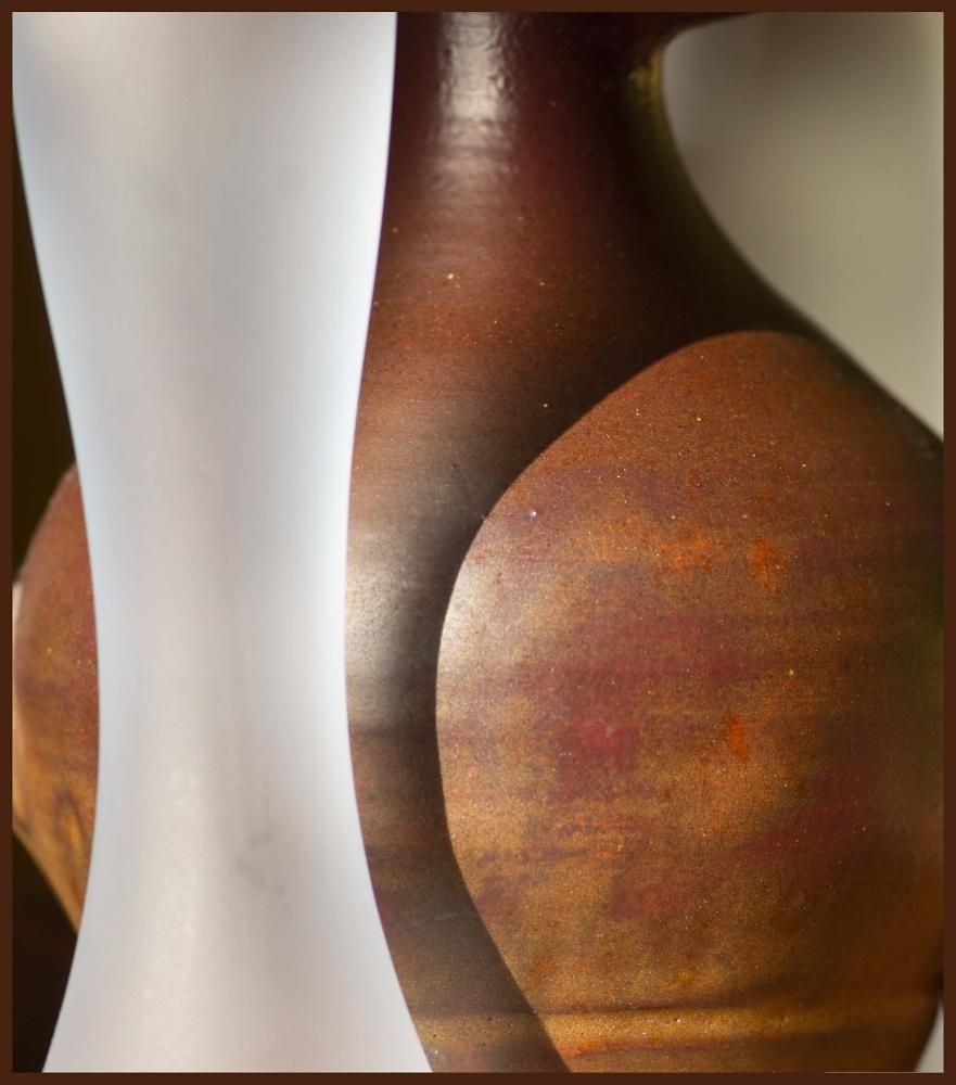 Bottles and a pot.