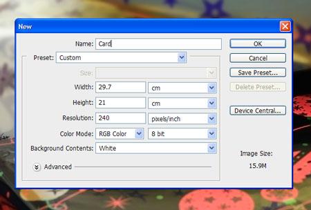 Create a new Photoshop document