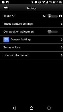 Pentax Image App Settings