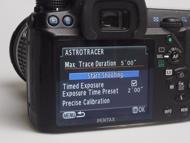 Pentax O-GPS1 astrotracer start tracking