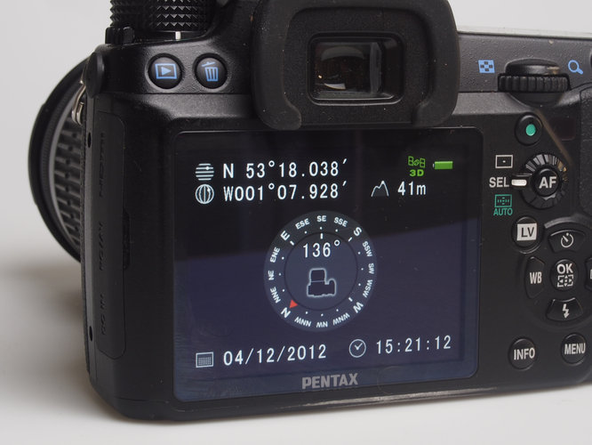 Pentax O-GPS1 compass being used