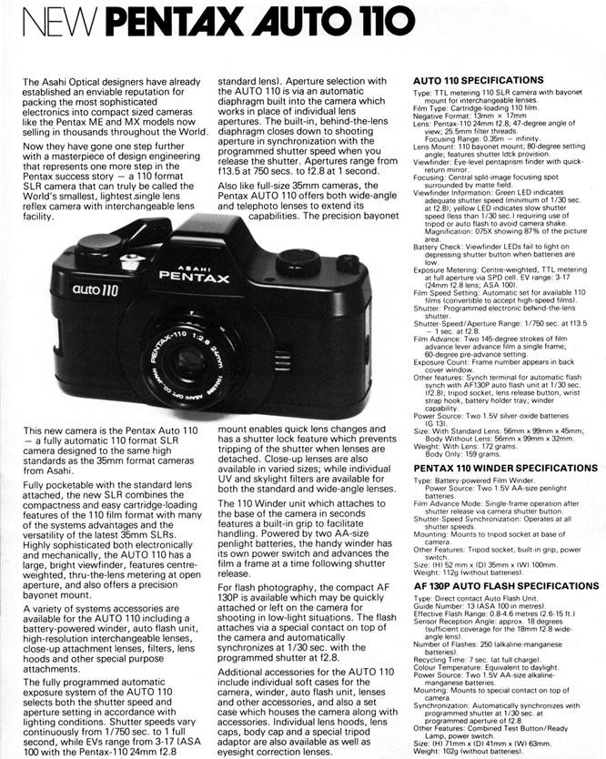 New Pentax Auto 110 Article