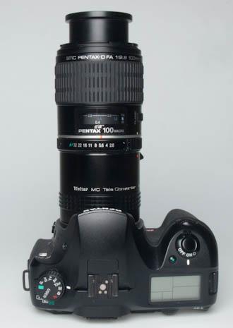 Vivitar 3x Tele Converter on camera