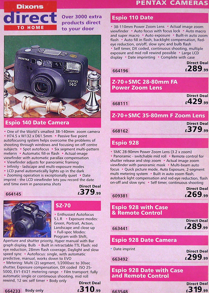 Pentax Prices October 1995