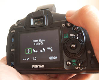 setting flash exposure compensation on a Pentax K20D camera