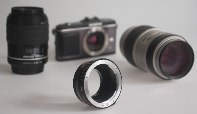 Pentax K to M43 adaptor with camera / lenses